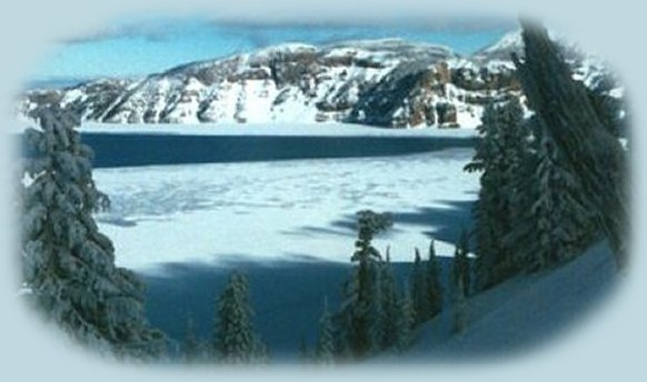 winter at crater lake in southern oregon: inspirational writings, spiritual inspiration, thoughts for the day, poetry, prose, stories: higher self, personal growth, spiritual encounters, out of body experiences and white light experiences, from Brad Kalita, founder of gathering light ... a retreat located near crater lake national park in southern oregon.